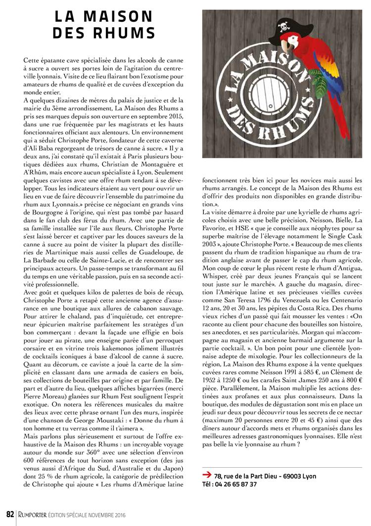 Article dans RumPorter novembre 2016